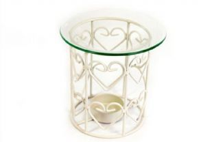 Cream Metal Wire Oil Burner With Heart Design